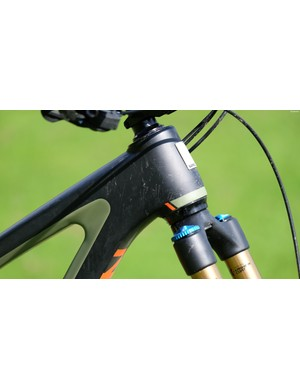 An oversized headtube allows for +/- 5mm of reach adjustment using a second headset supplied with the bike
