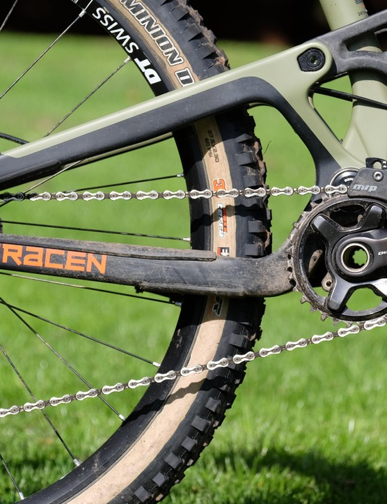 The bike runs on a full Shimano SLX/XT drivetrain. Shifting was faultless during testing and the MRP chain guide meant I never dropped a chain