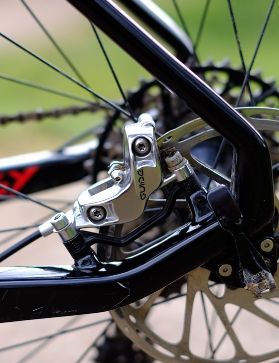 The post-mount rear caliper fitting tucks the Prodigy's brakes neatly inboard of the rear triangle