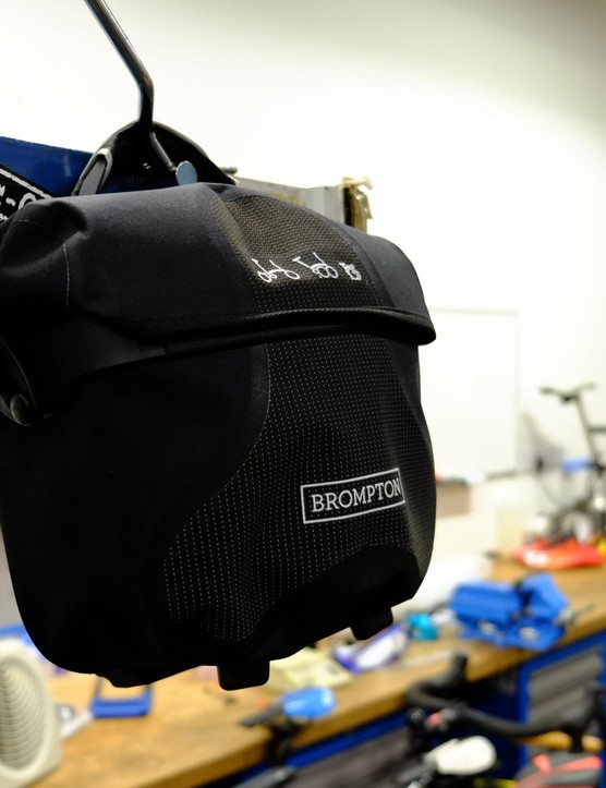 This new Mini O Bag from Brompton is made by Ortlieb, so it's definitely waterproof