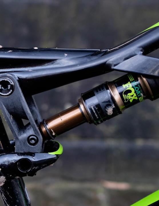 A carbon rocker drives the Moterra's Fox Float EVOL rear shock, delivering 130mm of travel