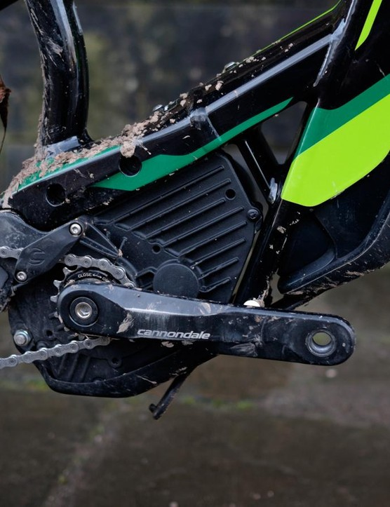 The Bosch motor drives a 15t sprocket that's been offset to provide an ideal chain line for the frame's unusual 157mm rear axle
