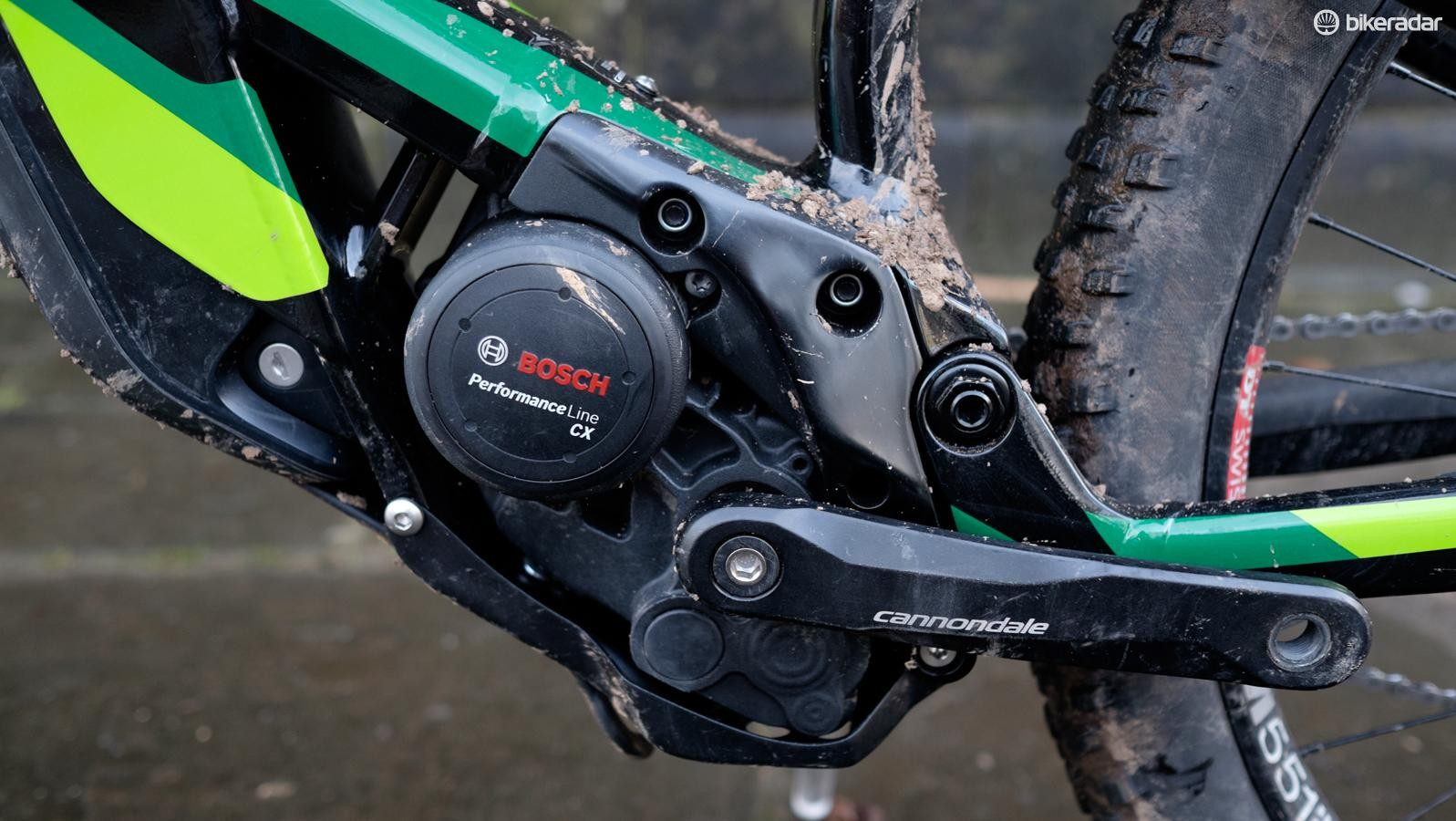 Bosch's Performance Line CX motor is mounted at an unusual angle in order to minimise chainstay length and optimise the frame's suspension pivot placement