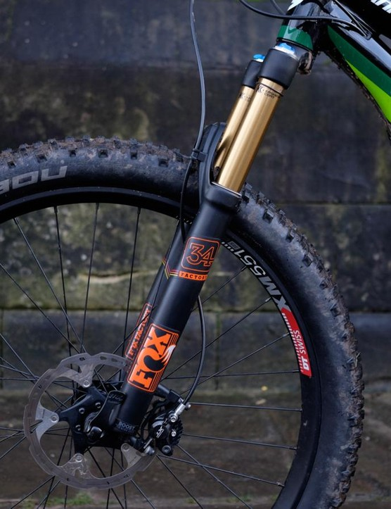 The Fox 34 on the front of the Moterra has been upgraded structurally and in terms of damping to deal with the extra heft of a bike with a motor