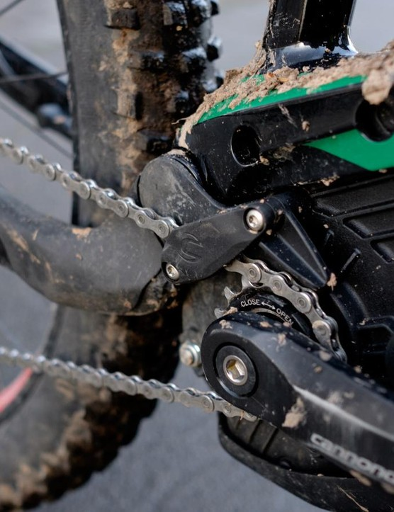 The tiny front sprocket is equipped with its own chain device
