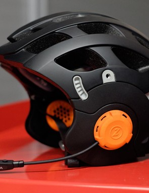 This prototype version of the Anverz features a foldaway mouthpiece and integrated speakers