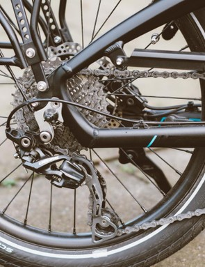 The mountain bike-derived 1x10 drivetrain seems like a solid choice to us