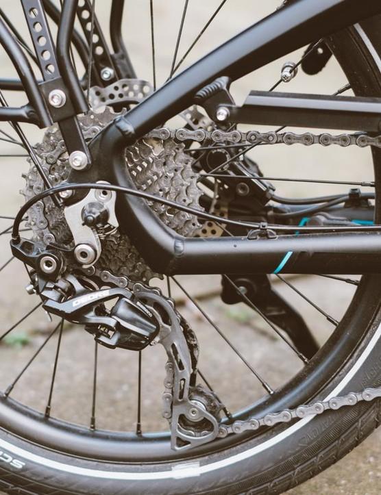 The mountain bike-derived 1x10 drivetrain seems like a solid choice to us