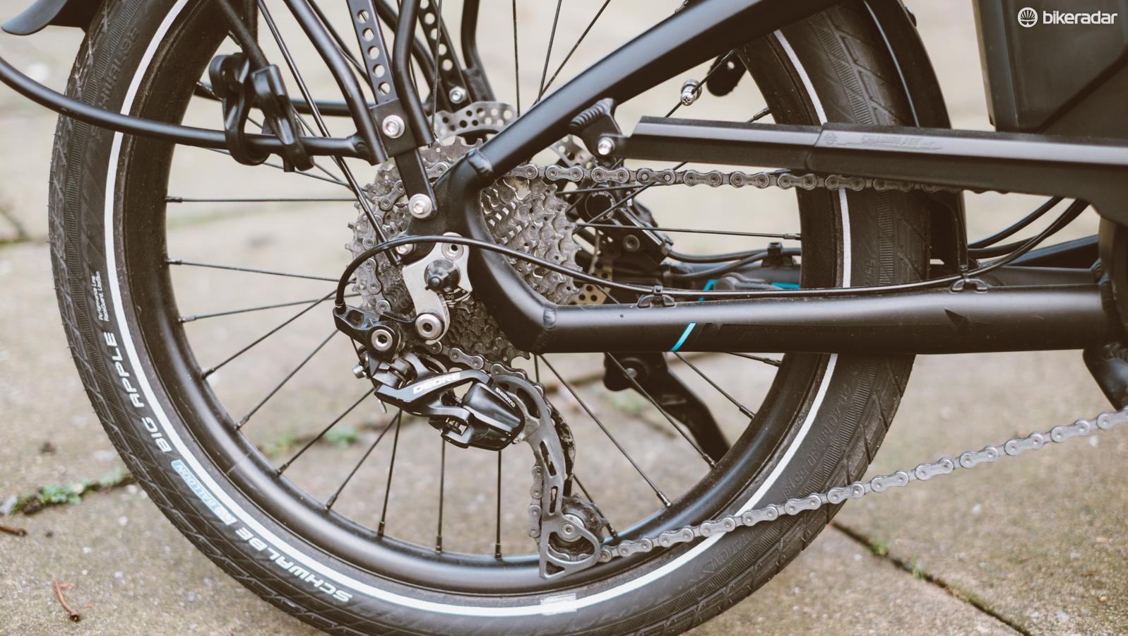 The mountain bike-derived 1x10 drivetrain looks like a solid choice to us