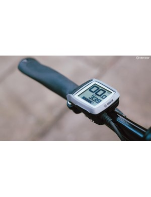 Mounted at the left hand side of the handlebar, Bosch's Purion display unit can cycle through four levels of power assistance via two large buttons