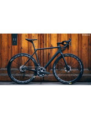 The 2017 Canyon Ultimate CF SLX 8.0 Disc is also available in other, less stealthy colour options