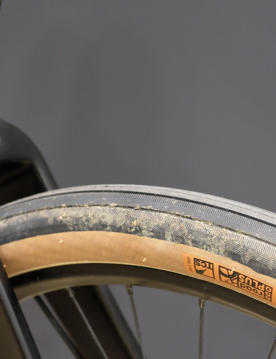 The new carbon fork boasts tonnes of clearance around the 47mm wide tyre and mudguard mounts