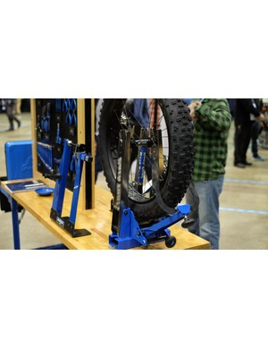 Park Tool TS-4 truing stand is good for tyres up to 5in wide and will fit wheels with an axle width of up to 217mm