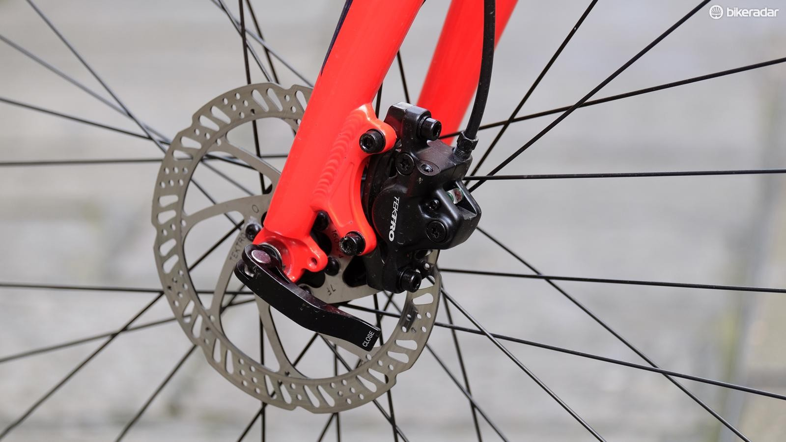 Tektro hydraulic disc brakes offer ample stopping power
