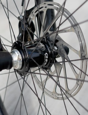 Chris King hubs attach to ENVE M90 carbon rims for a wheel build that costs more than most riders' bikes