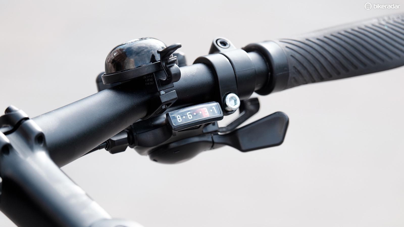 The 3x8 Shimano drivetrain provides plenty of range