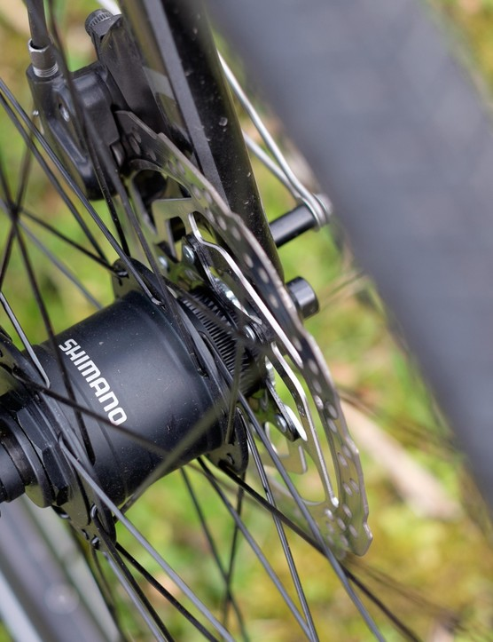 Shimano's dynamo hub pinches performance slightly but delivers consistent power to the Skyline's lights