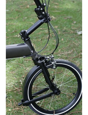 The fork has a built-in mudguard