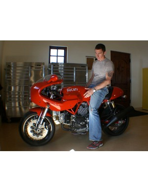 Egger's other true love: his new Ducati, in racing red of course.