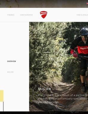 The MIG-RR isn't hidden under merchandise, it's listed on Ducati's website alongside actual motorbikes
