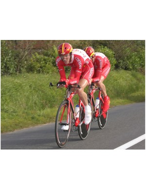 Michiel Elijzen (front) and Bradley Wiggins (rear) en route to victory in this year's Duo Normand