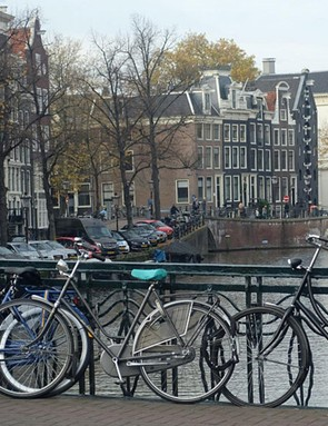 Traditional Dutch-style city bikes in their natural habitat