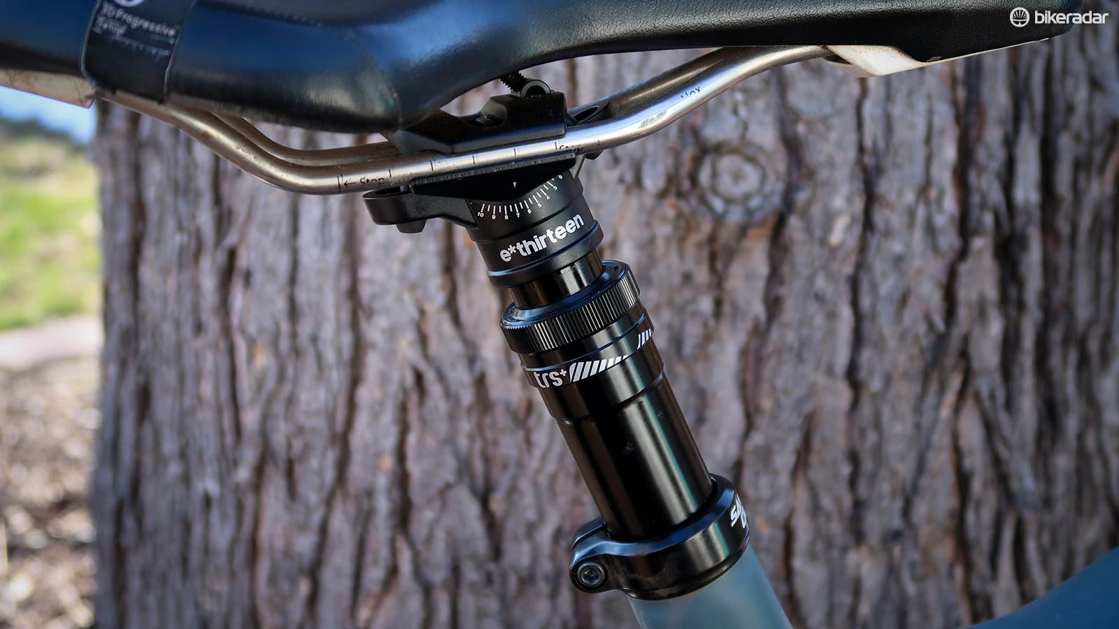 The e*thirteen TRS+ dropper seatpost is affordable, user-serviceable and thus far has proven reliable
