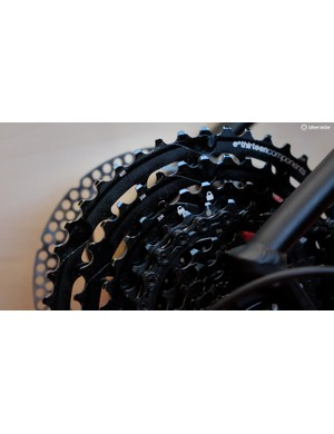 The cog size was tweaked from the 9-44t TRS+ cassette to keep the jumps relatively even across the wider range