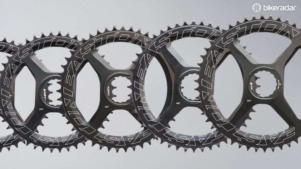 Easton claims the new chainring tooth profile enhances chain retention while limiting noise and friction