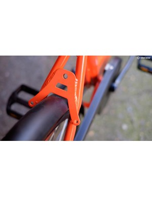 The mount for the wheel lock is integrated into the bike