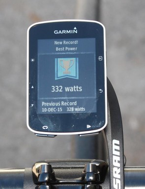 The Edge 520 will congratulate you often in the first few rides, as you set new 'bests' on the unit