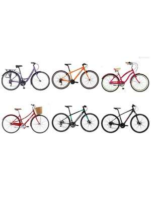 A selection of women's hybrid bicycles