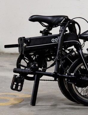 The Eelo folds down to a form that's not far from that of a folded Brompton