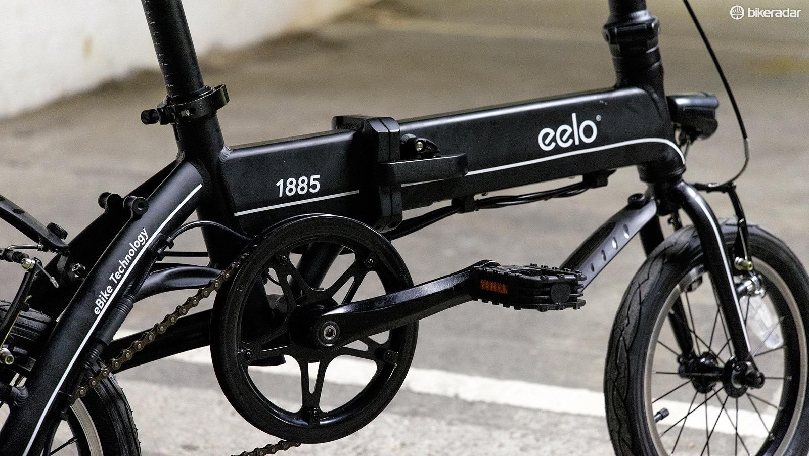 The chunky aluminium frame of the Eelo actually contains the bike's battery pack