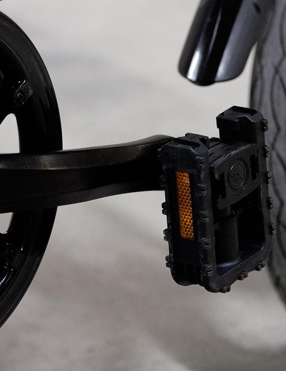 Collapsable pedals make for a tighter fold