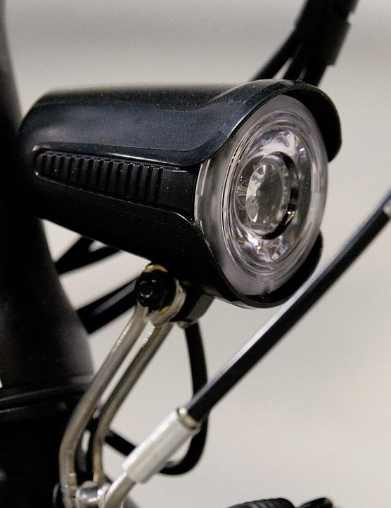 The LED front light is also standard fit and is controlled via the handlebar-mounted control unit