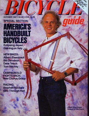 Albert Eisentraut on the October 1987 Bicycle Guide cover.