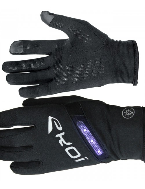 These Ekoi LED Black gloves are touschreen-compatible, and feature four illumination modes