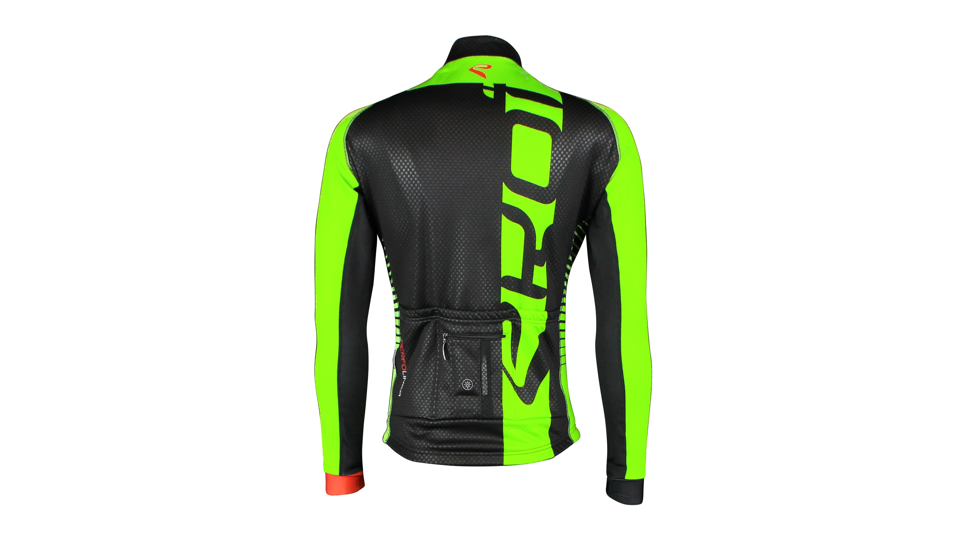 The Ekoi Perfolinea Flash jacket has an integrated LED in the back, with four different modes: continuous, fast, very fast or flashy. We like the sound of flashy