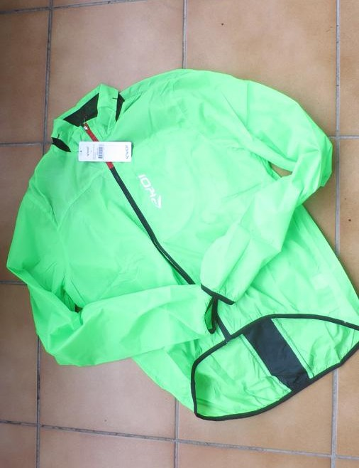 This fluro green pocket-packable rain jacket is priced at £55/$72