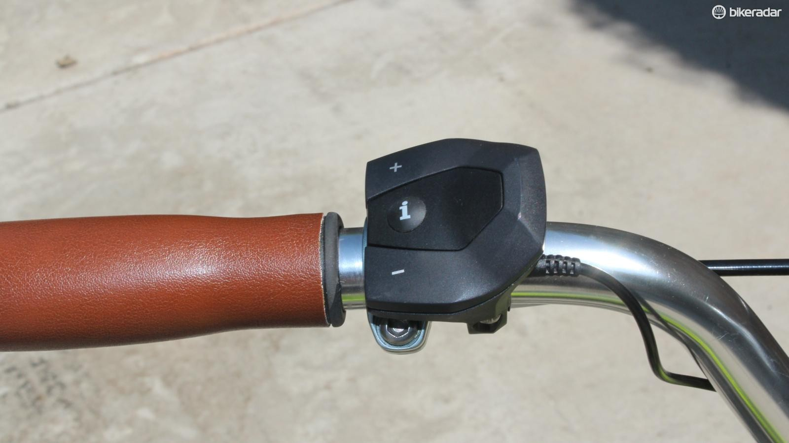 You toggle between four levels of pedal-assist - or none - with this left-side switch
