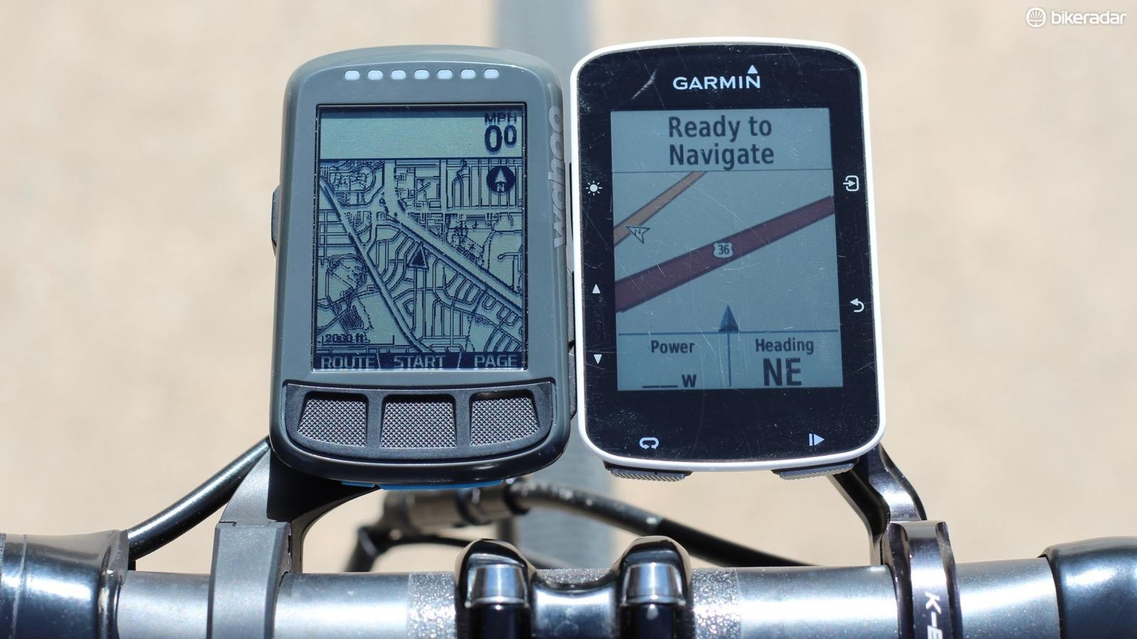 The Wahoo Elemnt Bolt (at left) is challenging the Edge 520 on many fronts, but the Garmin mapping remains superior although more expensive