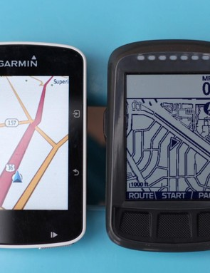 Garmin's color screen makes it easier to follow routes, but the Bolt's far superior battery life is better for long rides in new places