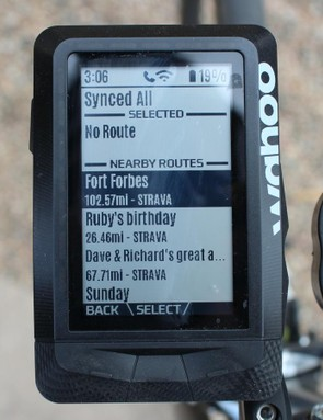 Routes you've created on Strava automatically and wirelessly populate on the Elemnt