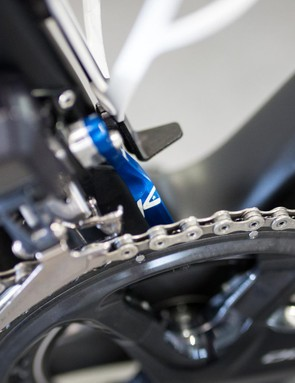 The only other bit of colour on Viviani's bike, a K-Edge chain catcher