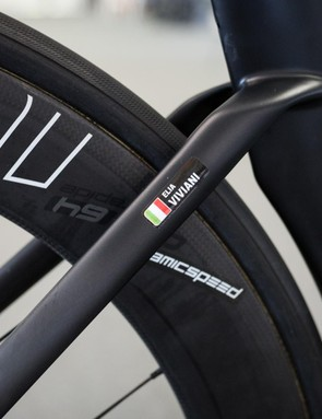 Viviani's name sticker is just about the only colour on this bike