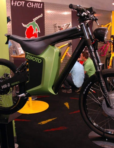 The Elmoto two-wheel drive electric supermoto bike, not something you see every day