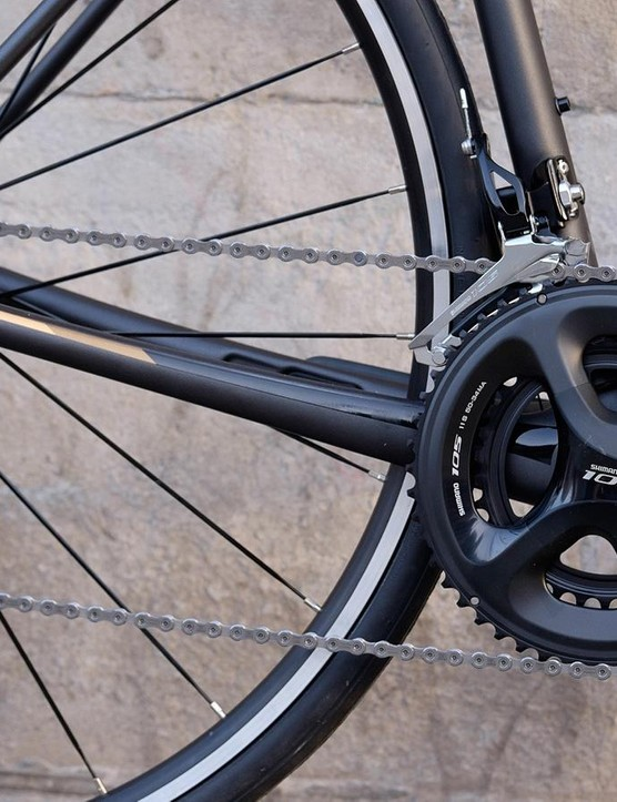 The Shimano 105 groupset is reliable and durable, with a gear range to cover all manner of terrain