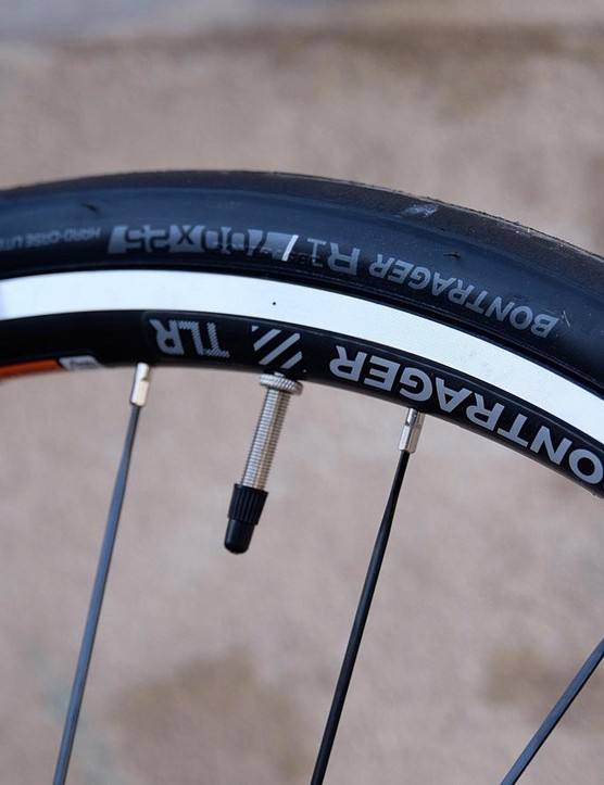 The Bontrager wheels are noticeably heavy, something you definitely feel on climbs