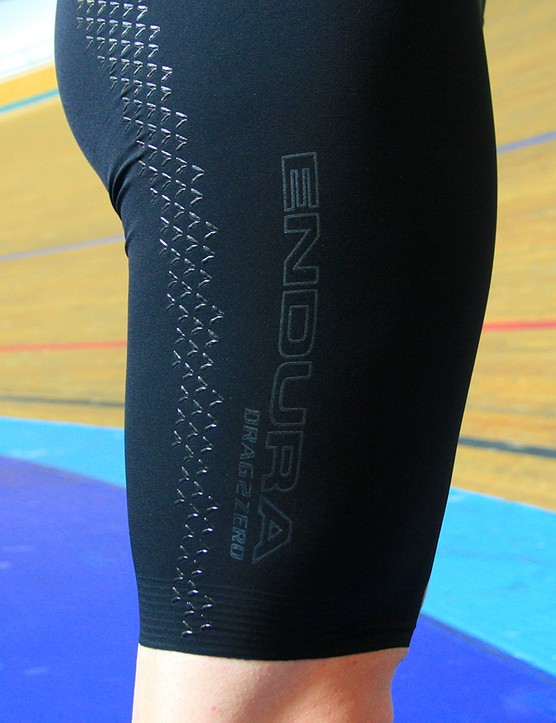 Silicone disruptors appear on the legs of the road suit